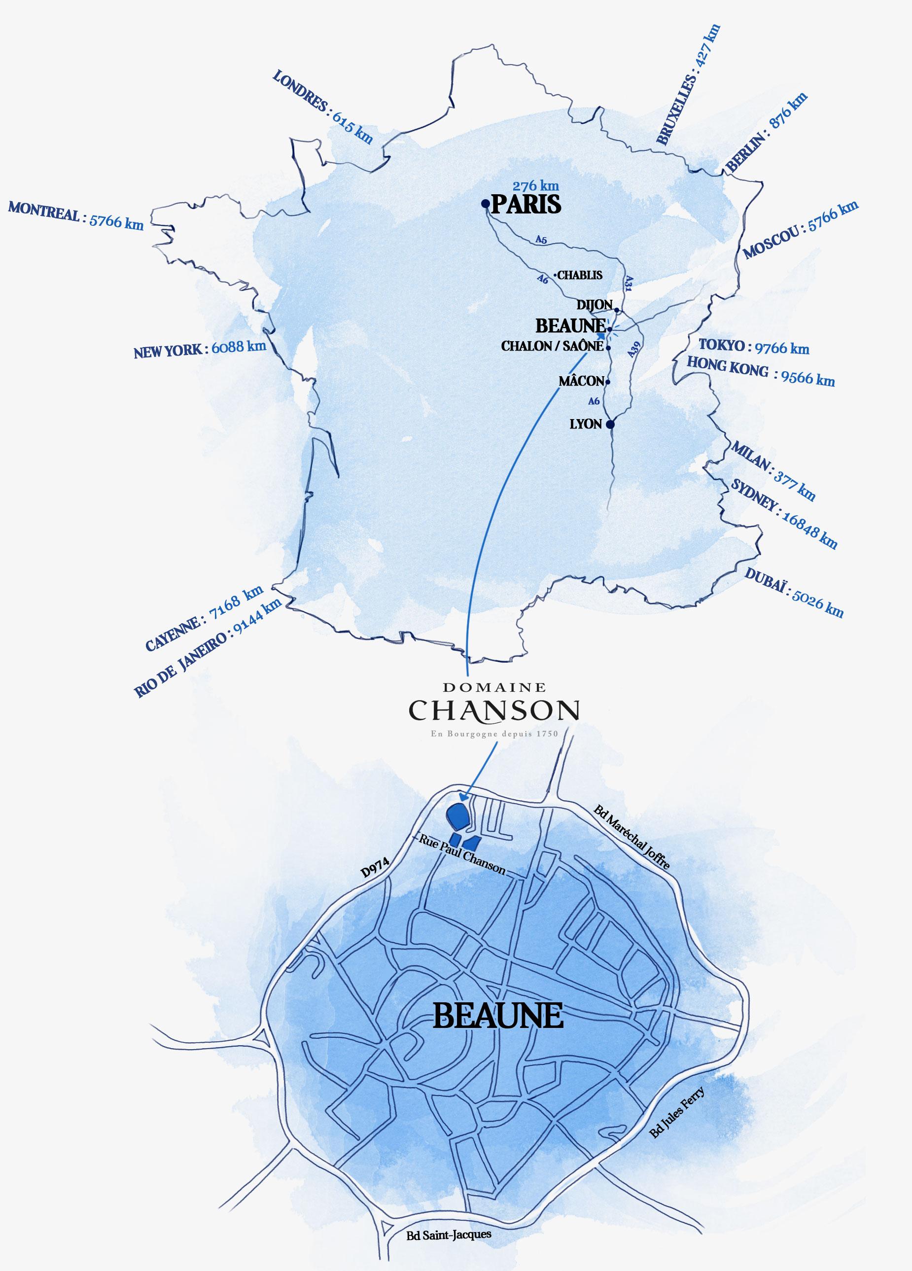 Plan d'accès au Domaine Chanson